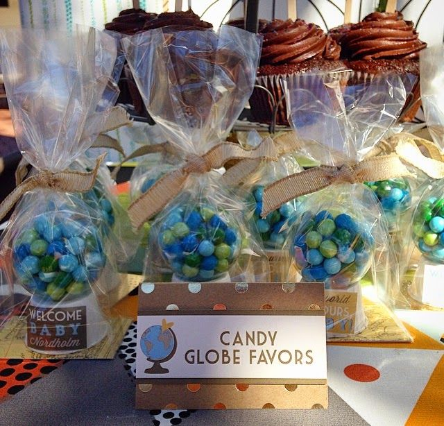Sixlets globe party favors welcome to the world baby for Around the world party decoration ideas