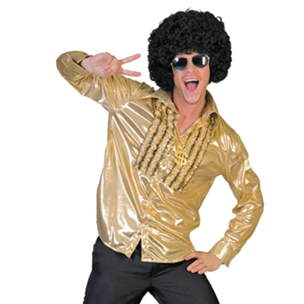 Disco Ruffle Shirt 1970s Mens Fancy Dress Saturday Night Fever 70s Adult Costume