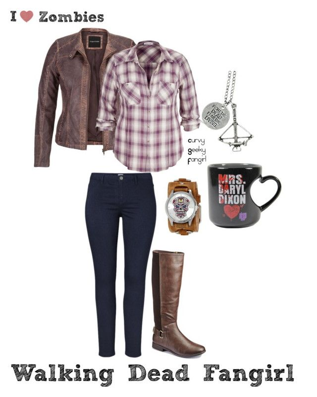 """Zombie Love Week:Walking Dead Fangirl"" by curvygeekyfangirl ❤ liked on Polyvore featuring maurices and Nemesis"