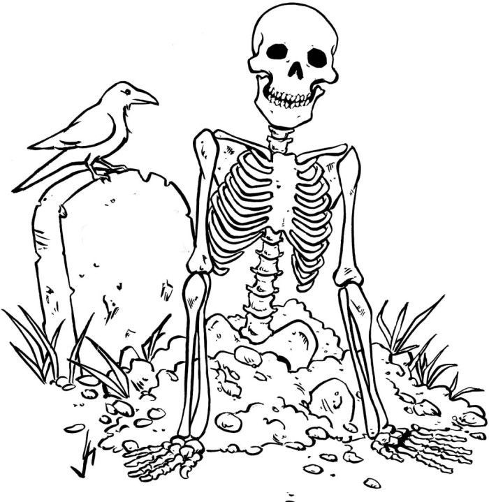 Zombie Skull Coloring Pages | Skulls, Bones, & Day of the Dead ...