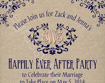 Rustic Burlap Linen Post Wedding Or Elopement Celebration Printable Invitation