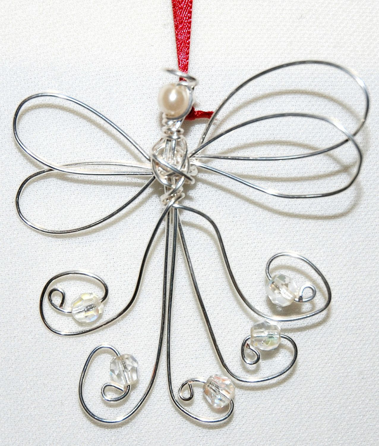 Wire Angel Ornament With Beads 15 00 Via Etsy Kjs Wire Ornaments Christmas Bead Wire Crafts