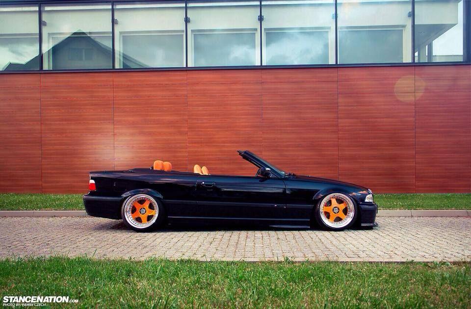 Bmw E36 3 Series Cabrio Black Slammed On Orange Rims Bmw Bmw E36 Bmw Cars