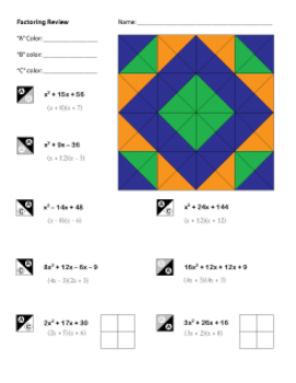 Algebra Factoring Review Coloring Worksheet | the classroom ...