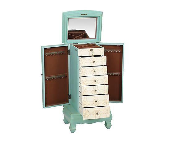 Mueble joyero de madera DM Ambre - crema y verde | Decoracion ...