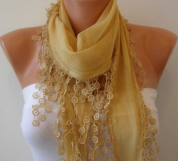 Mustard Scarf   Cotton  Scarf  Headband Necklace Cowl by fatwoman, $16.00
