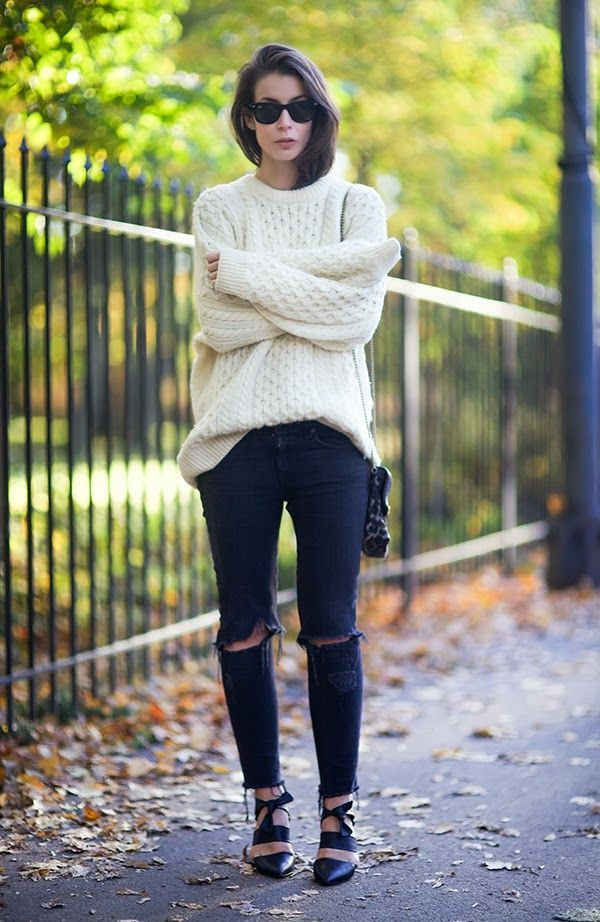chunky sweater with ripped jeans