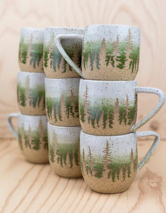 Green Pine Tree Ceramic Mug #ceramicpottery