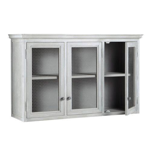Hangeschrank Aus Hevea Holz B 120 Cm Grau Zinc Muebles Mobiliario De Cocina Almacenamiento De Armario