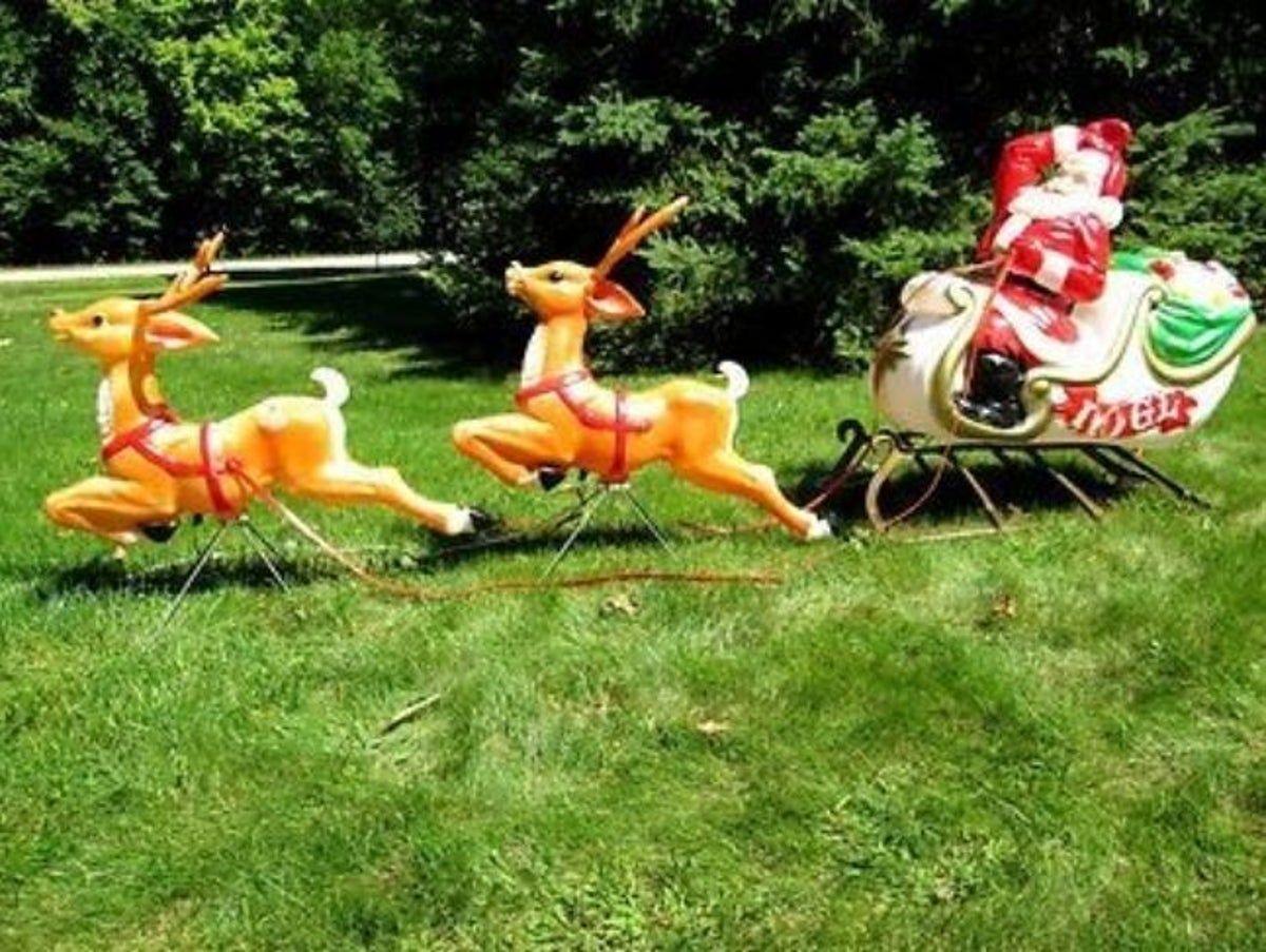 Santa Sleigh Two Reindeer Blow Molds In 2021 Vintage Christmas Vintage Christmas Decorations Christmas Display