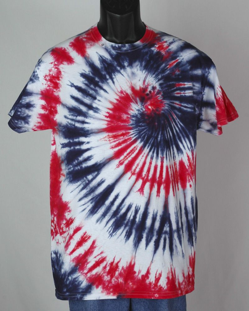 men's RED WHITE and BLUE tie dye t-shirt 100% cotton tee size S to ...
