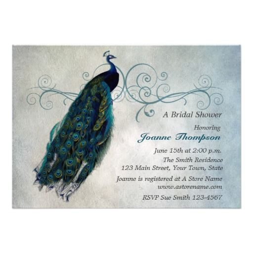 Peacock scroll bridal shower invitation bridal showers shower peacock scroll bridal shower invitation filmwisefo Image collections