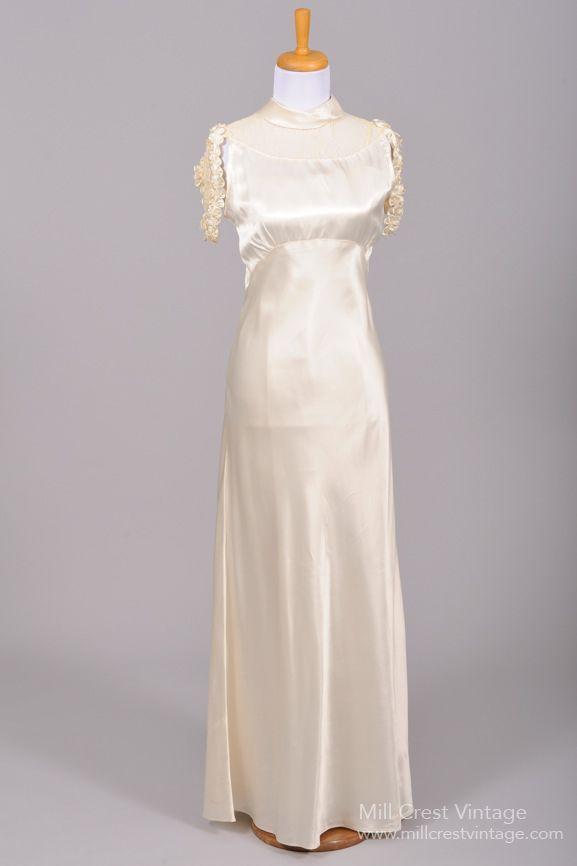 1930 Silk Satin Cascade Vintage Wedding Gown | Silk satin, Vintage ...