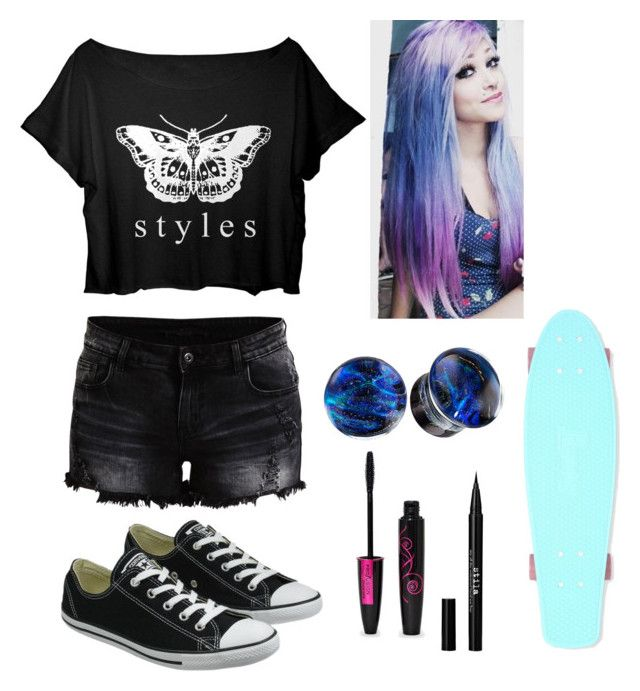 """""""Styles"""" by kacismith ❤ liked on Polyvore featuring VILA, Converse and Stila"""