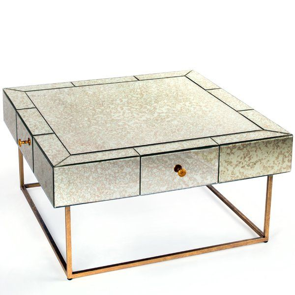Mirrored Coffee Table With Antique Glass Mirrored Top And Polished Gold  Legs Has 4 Drawers And Modern Design. | Glam Home Decor/ Furniture |  Pinterest ...