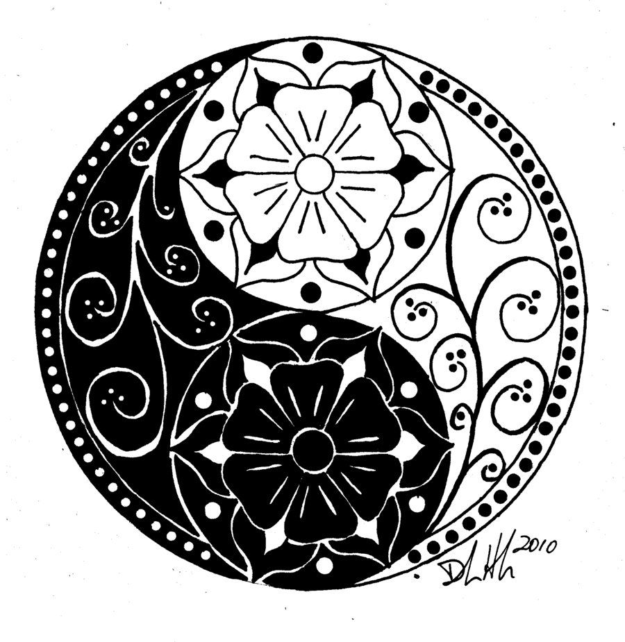 Yin Yang Flowers Would Be A Pretty Tat Daisy Flower Instead Maybe Less Scroll Work Yin Yang Tattoos Yin Yang Yin Yang Art