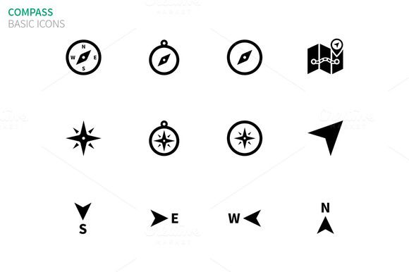 Check out Compass icons on white by Brothers Good on Creative Market