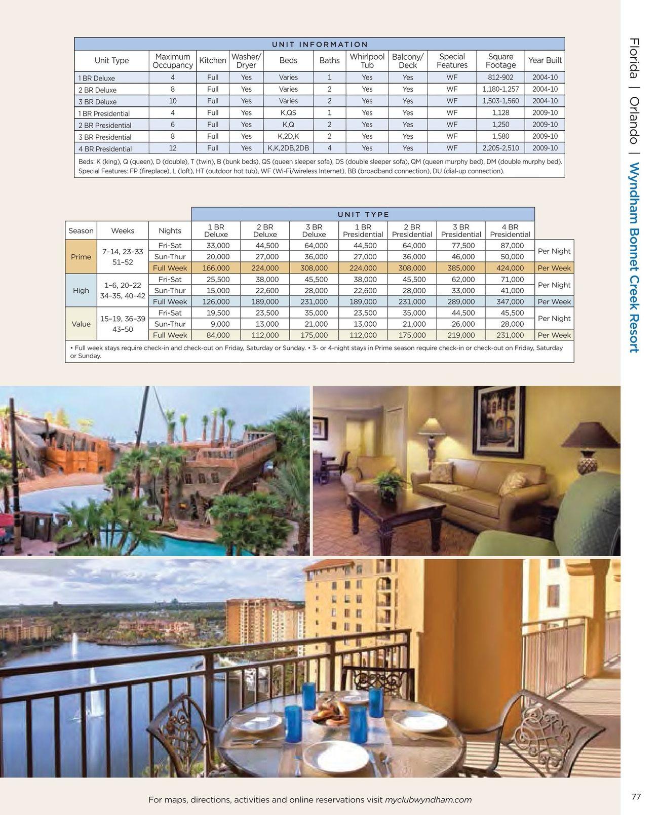 Wyndham Bonnet Creek Orlando Point Chart Wyndham Vacation Resorts Bonnet Creek Orlando Wyndham Bonnet Creek Orlando