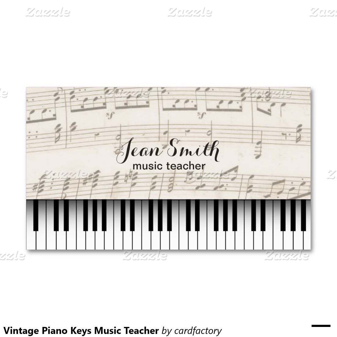 Vintage Piano Keys Music Teacher Double-Sided Standard Business Cards (Pack Of 100)