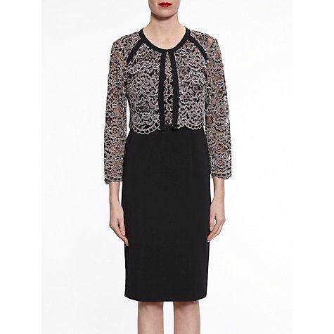 details for best new products Gina Bacconi Vintage Dress And Jacket, Black/Beige | Mother ...
