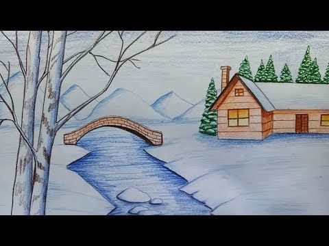 Christmas Scene Drawing.How To Draw A Simple Christmas Scene Decorating For