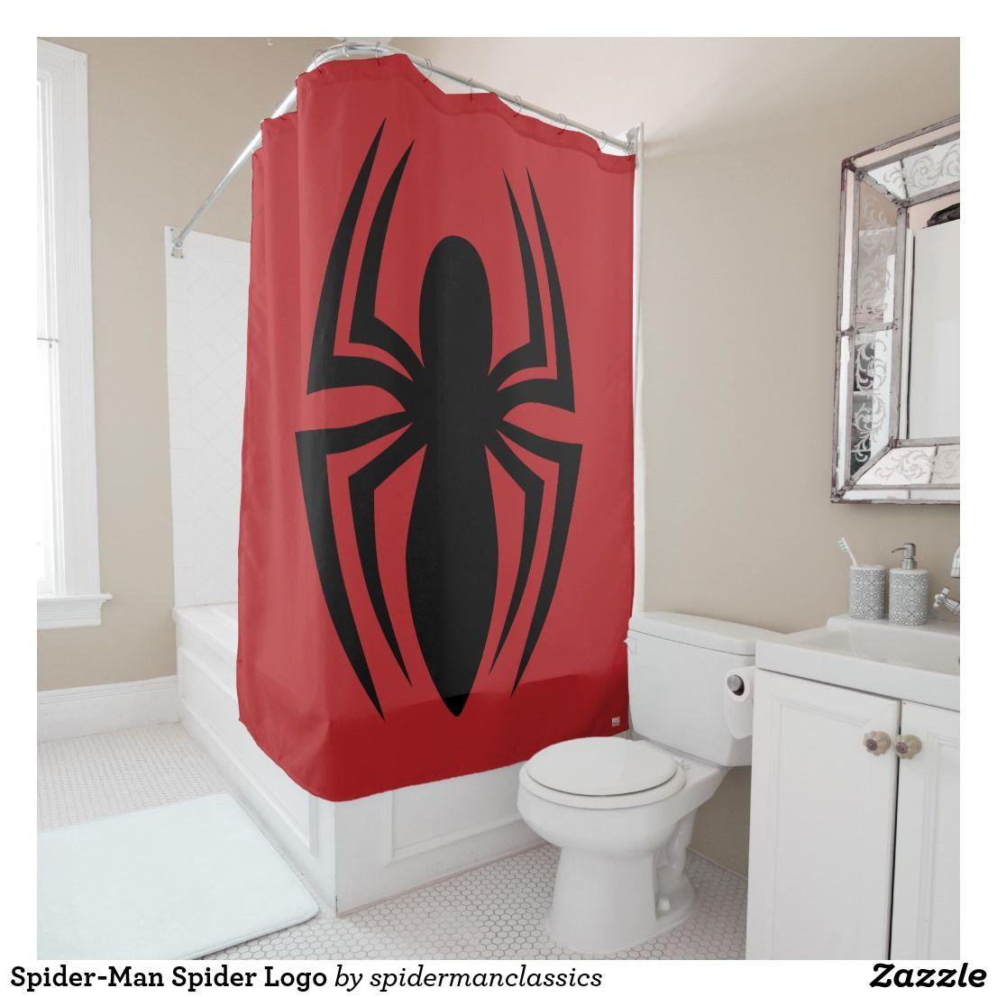 Spider Man Spider Logo Shower Curtain Zazzle Com Kids Shower