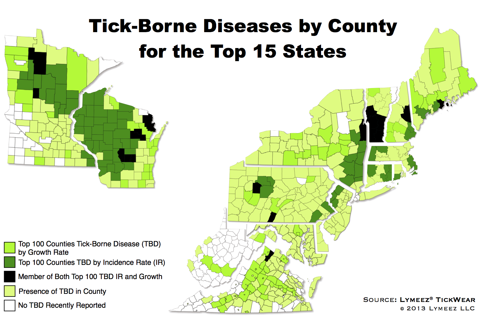 Tick Borne Diseases Incidences By County For The Top 15 Us States - Map-of-ticks-in-us