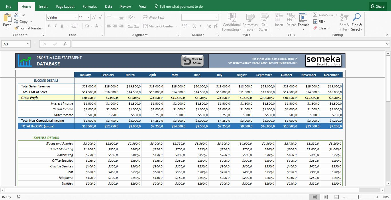 Profit And Loss Statement Template Elegant Profit And Loss Statement Template Free Excel Spreadshe In 2020 Statement Template Profit And Loss Statement Excel Templates
