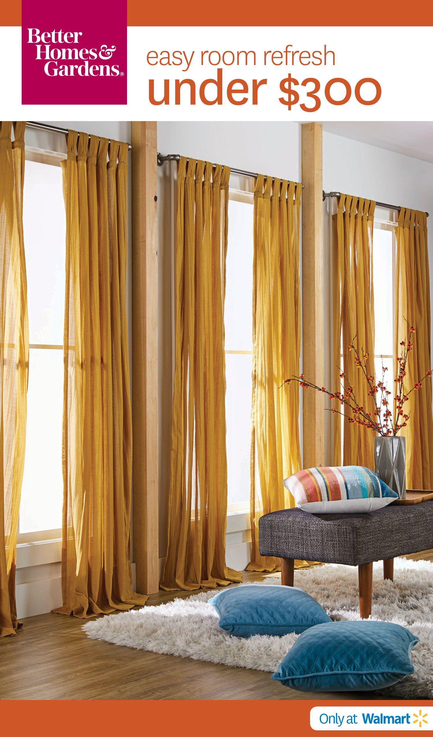 Better Homes And Gardens Arusha Tab Top Window Curtain Walmart