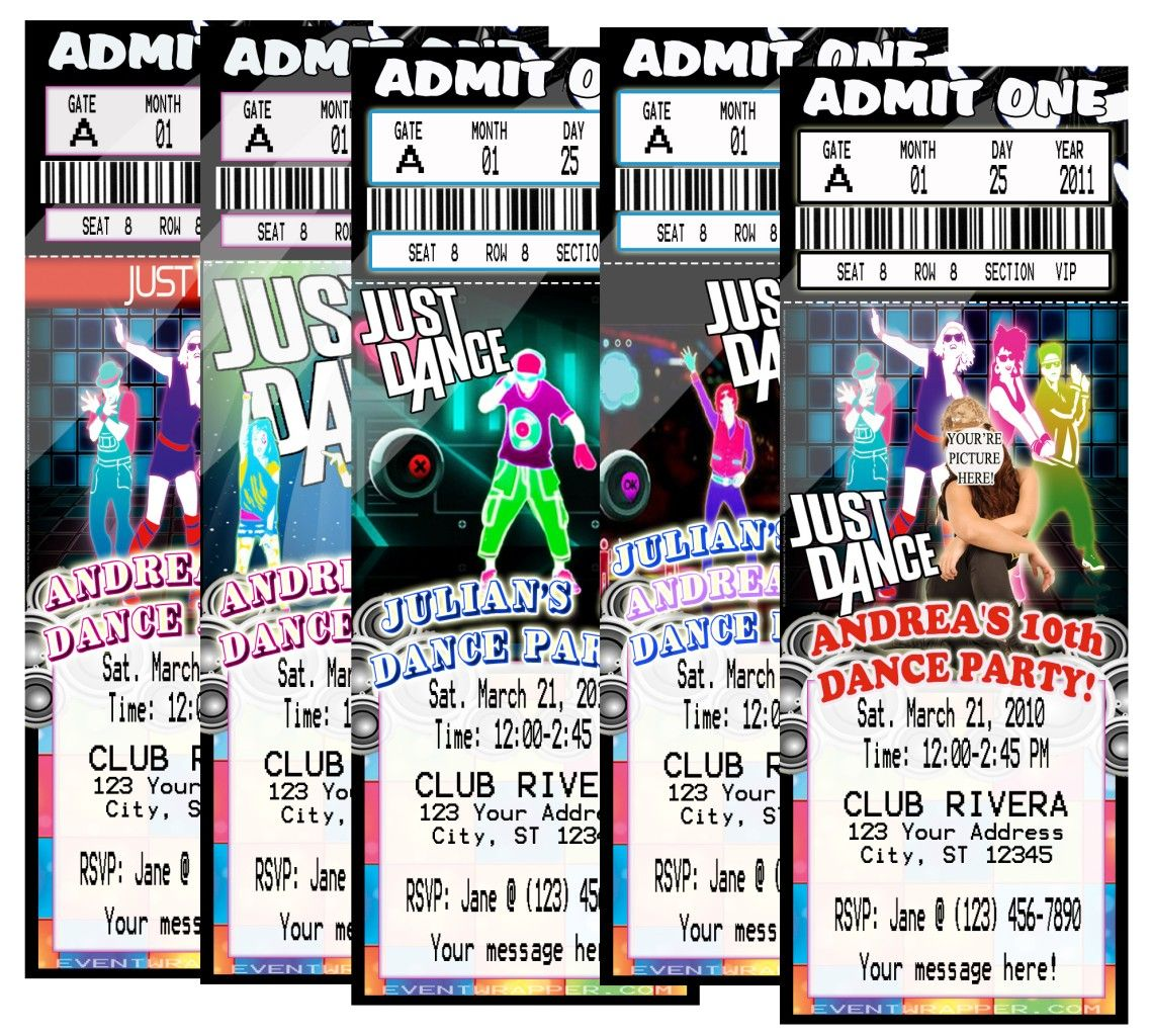 Dance+Party+Invitations | Just Dance Hip Hop Birthday Party Ticket  Invitations VIP Pass  Party Ticket Invitations