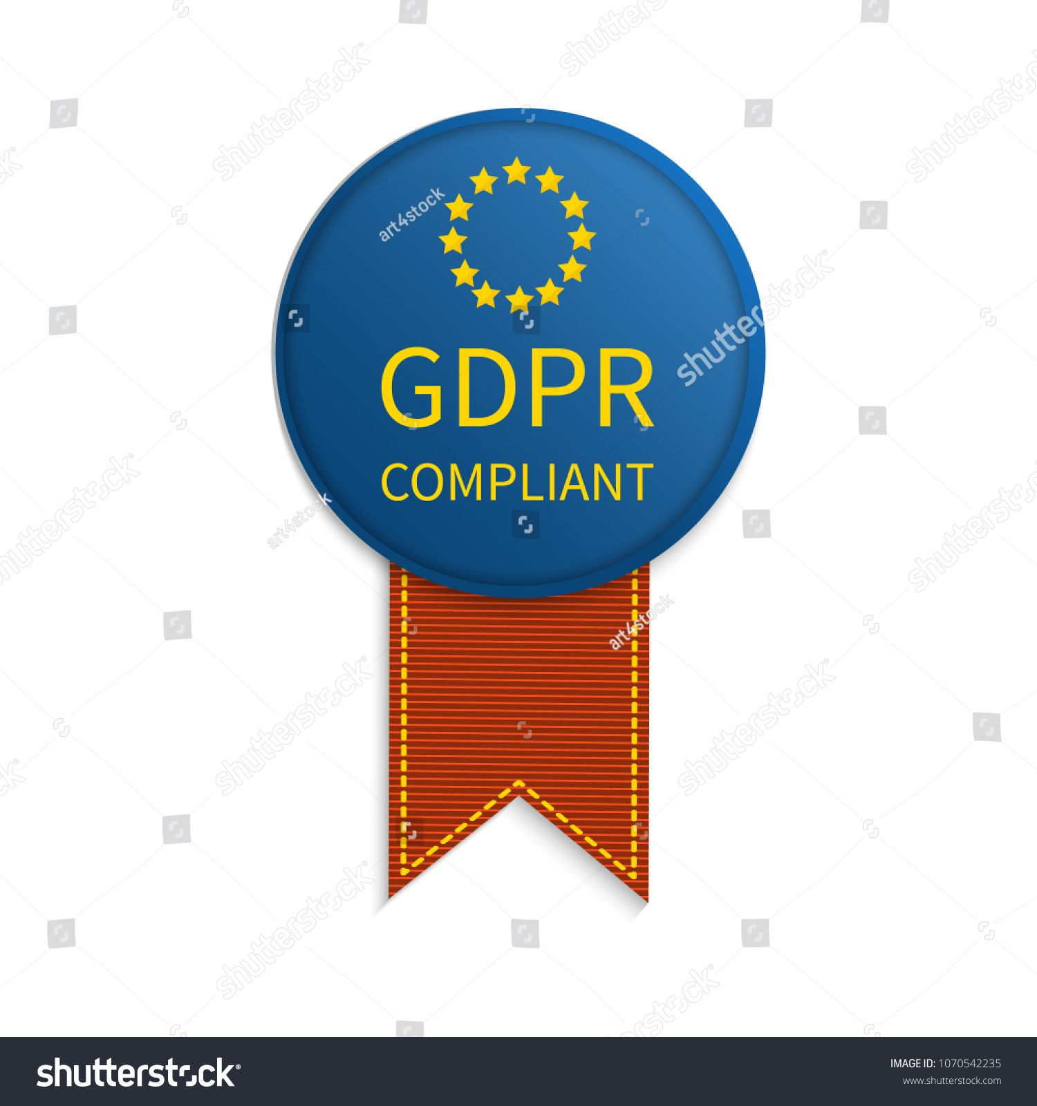 Gdpr Compliance Poster With A Ribbon Badge On White Background European General Data Protection Regul Gdpr Compliance Badge General Data Protection Regulation