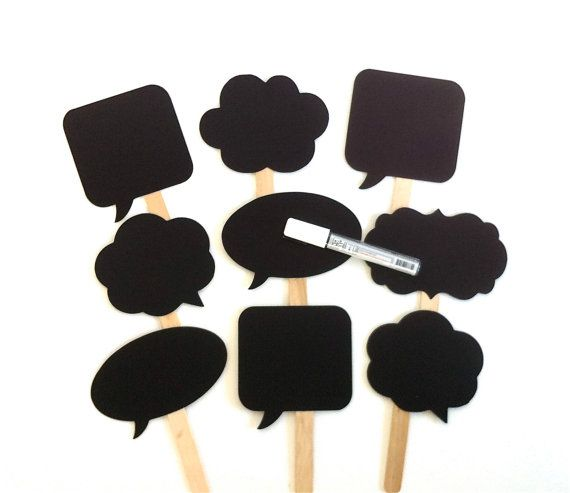 Pin By Jane Reding On Janieruthsfinds: Speech Bubble Chalkboard Photobooth Props By