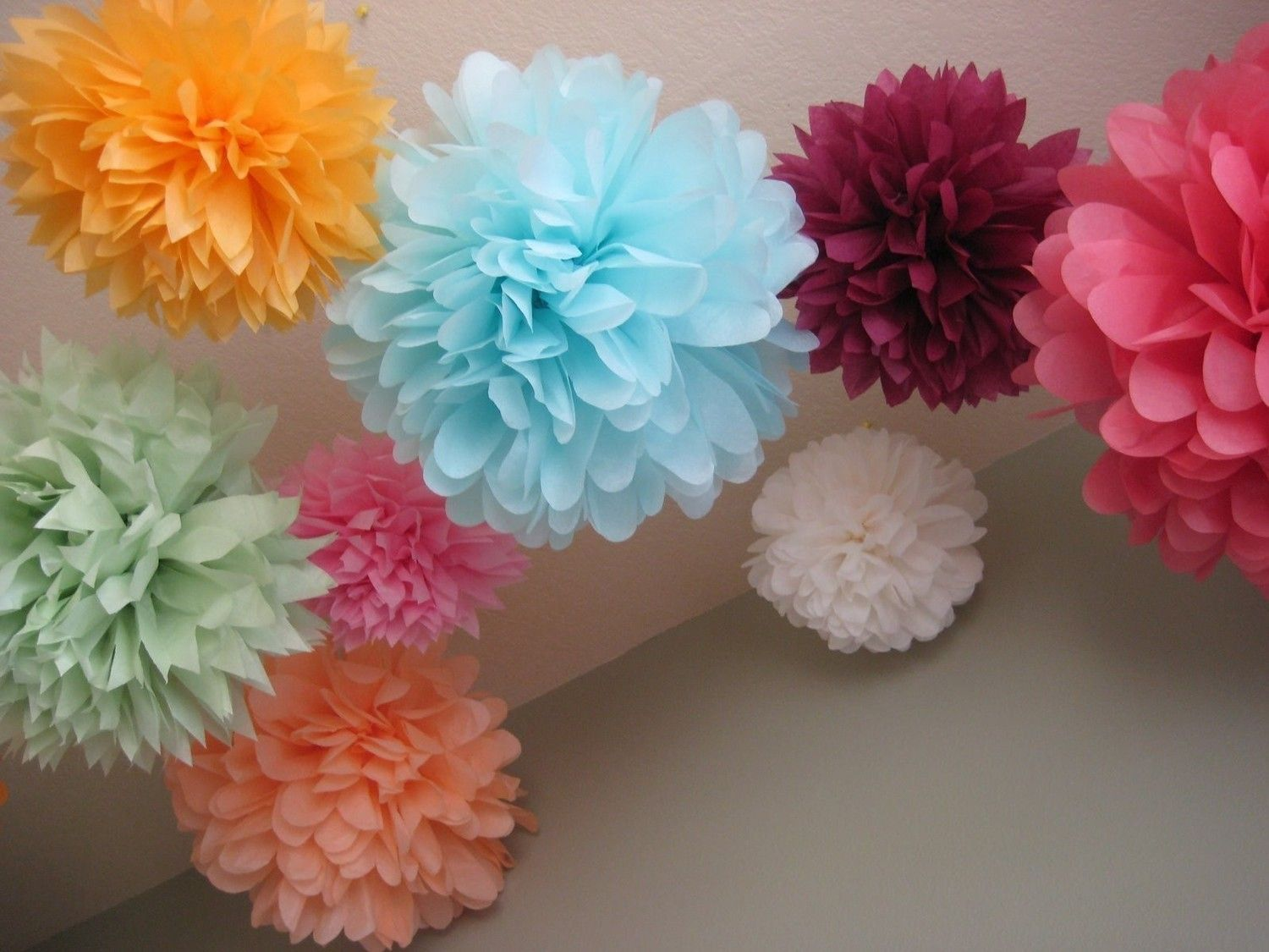 Tissue paper pom poms have these in my room and love them 20 tissue paper pom poms wedding decoration party diy kit as seen on portlandia tv show backdrop altar decor mightylinksfo Image collections