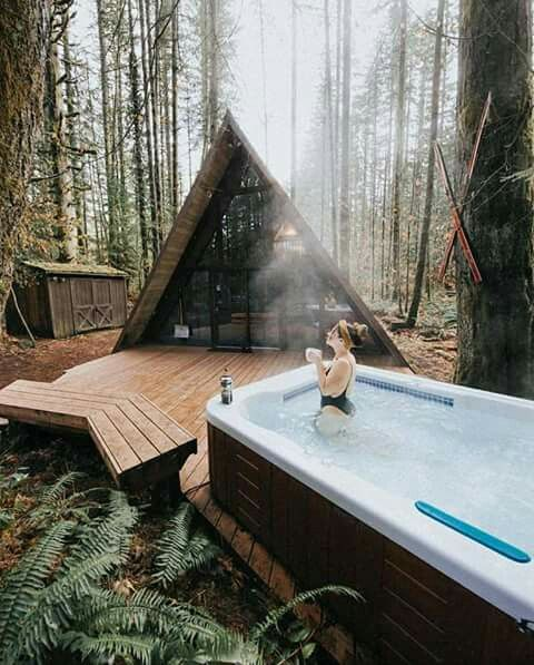Cabin With Hot Tub Tiny House Cabin Forest House A Frame House