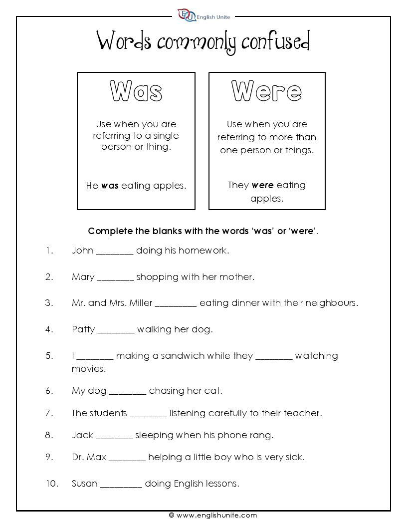 Words Often Confused Was And Were English Unite English Grammar Worksheets Grammar Worksheets Teaching English Grammar [ 1056 x 816 Pixel ]