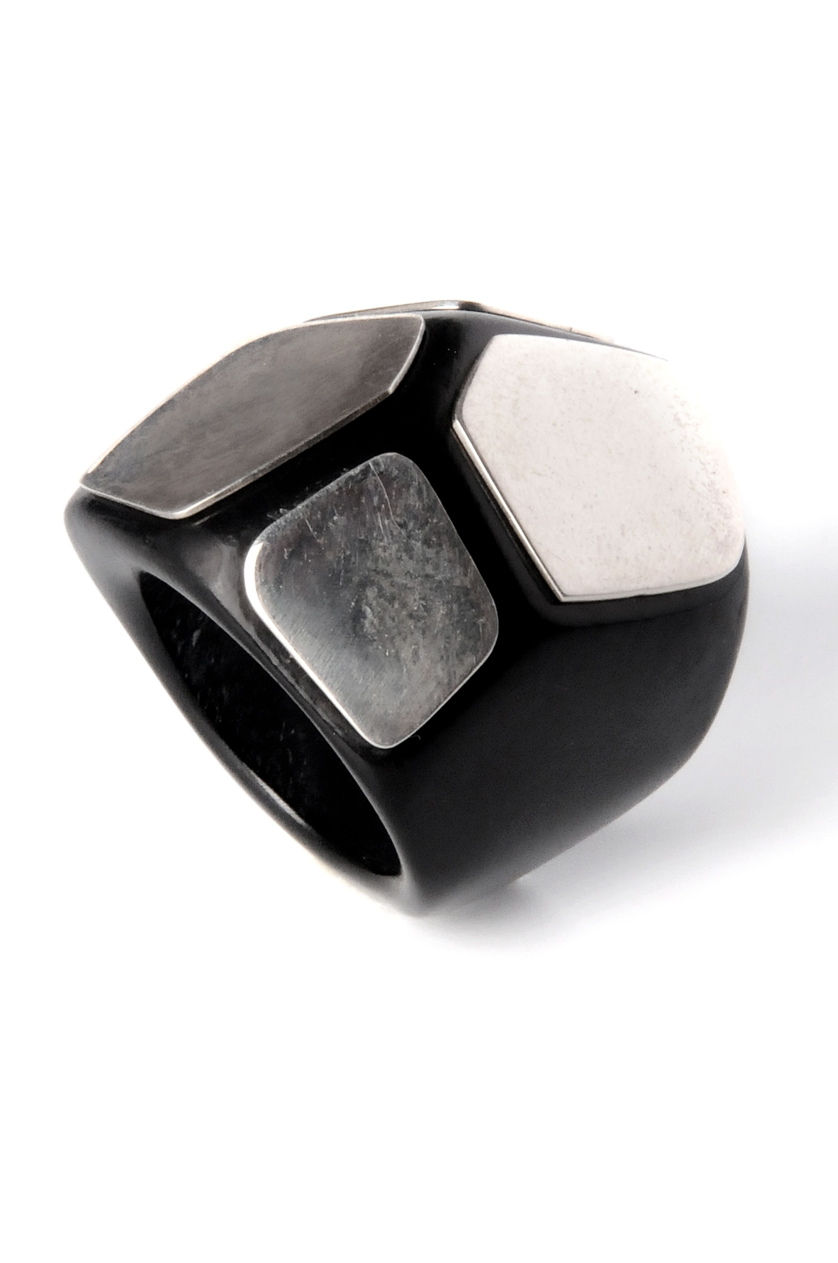 Elbeto black horn ring with sterling overlay. 100% hand carved & buffed