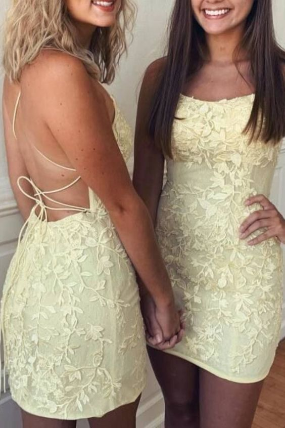 Sheath Spaghetti Straps Blue Short Homecoming Dress Tight With Appliques - Yellow homecoming dresses, Homecoming dresses short, Homecoming dresses short tight, Dresses for teens, Hoco dresses tight, Red homecoming dresses - Sheath Spaghetti Straps Blue Short Homecoming Dress Tight With Appliques