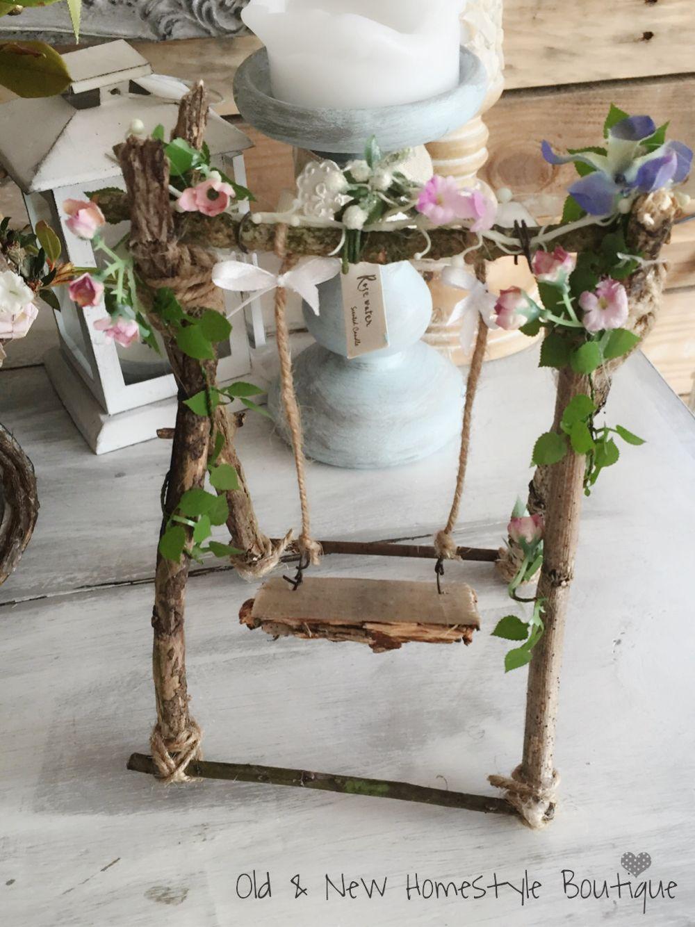 Homemade fairy swing #fairygarden #fairyswing