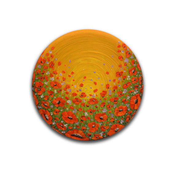 Textured wall art, Red poppies painting, yellow abstract art, Round ...