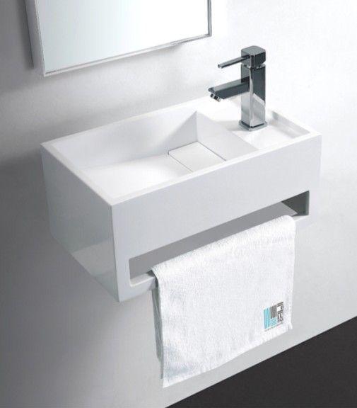 rue du bain avec son style pur ce lave main rectangulaire 48x30 cm avec porte serviette. Black Bedroom Furniture Sets. Home Design Ideas
