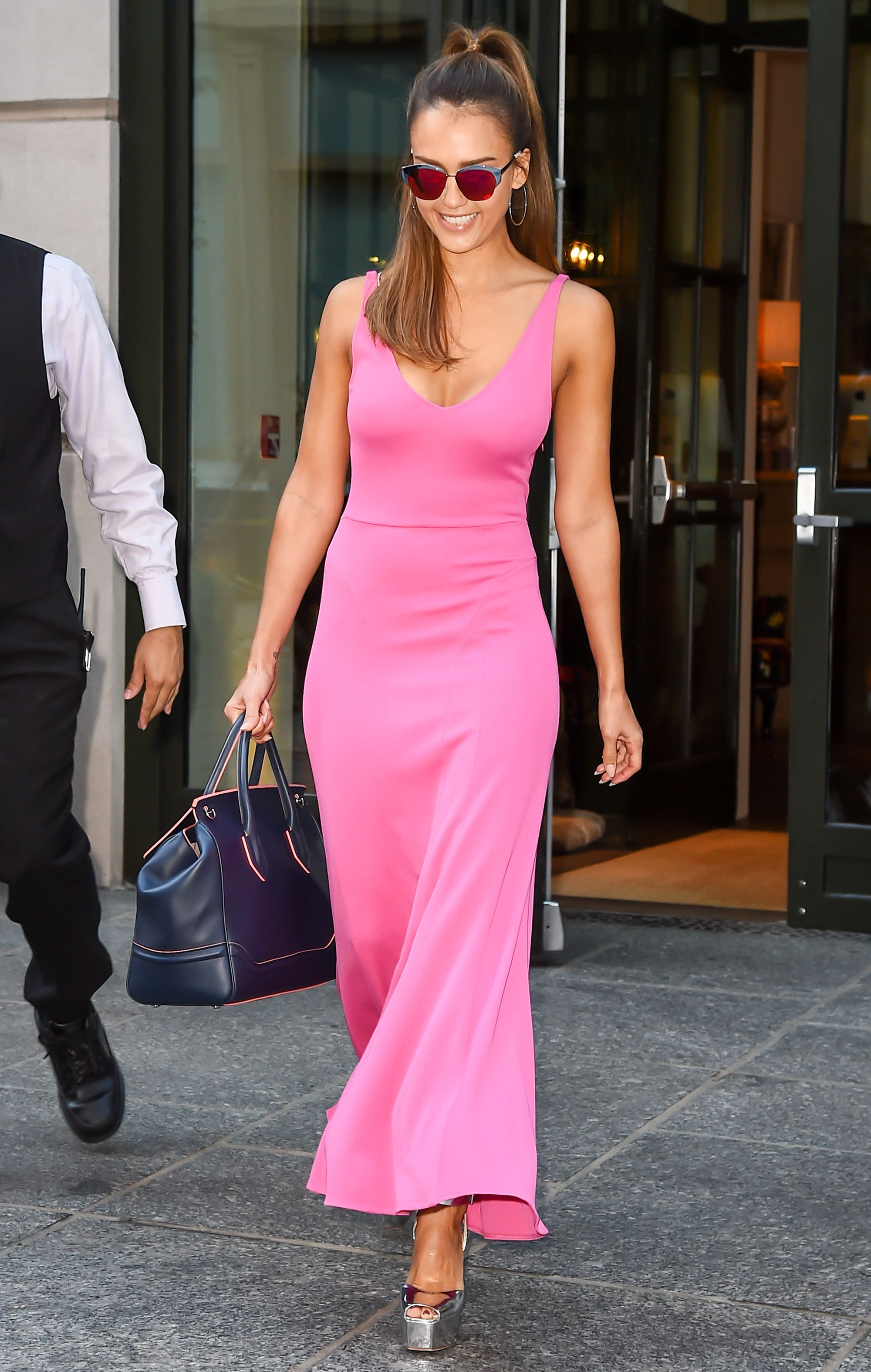 Jessica Alba Is on Fire in a Hot Pink Maxi and Matching Sunnies ...