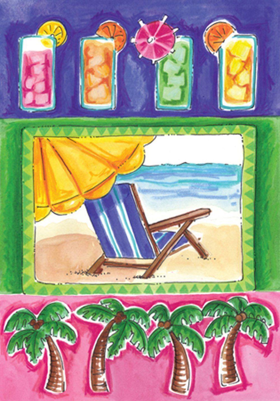 Tropical Beach Cocktail Palm Garden House Flags Garden Flags