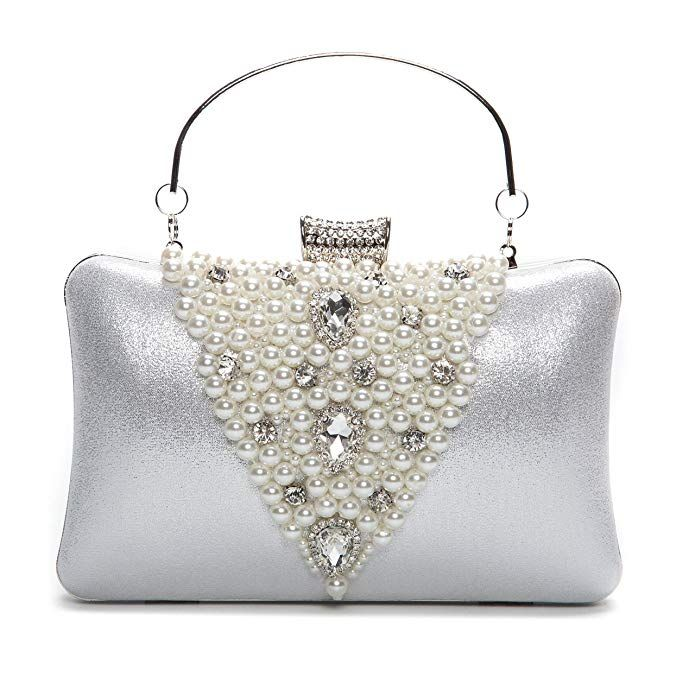 8cc2b650ed268 Chichitop Elegant Rhinestones Hard Clutch Pearl Evening Bag with Zip  Compartments Review