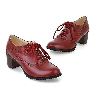 Hot Lady Women's Lace Up Oxfords Retro Mid Chunky Heel Wing Tip Brogue Shoes