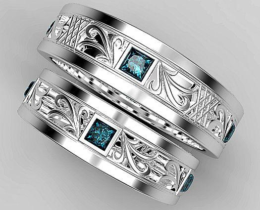 Blue Diamond Engagement Ring Set 19 Matching Wedding Rings