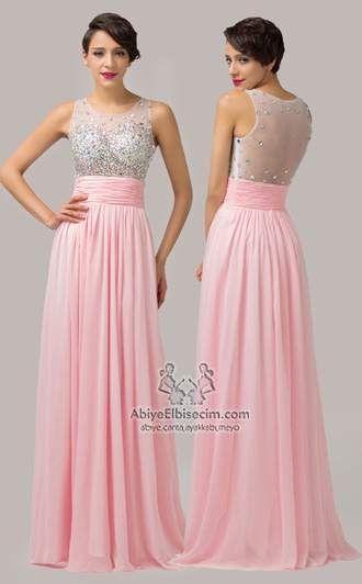 489a2e53d6bad uzun şifon elbise kolsuz pembe renk taşlı ve sırt transparan,uzun abiye,eabiye  elbise,mezuniyet elbisesi,gece elbise