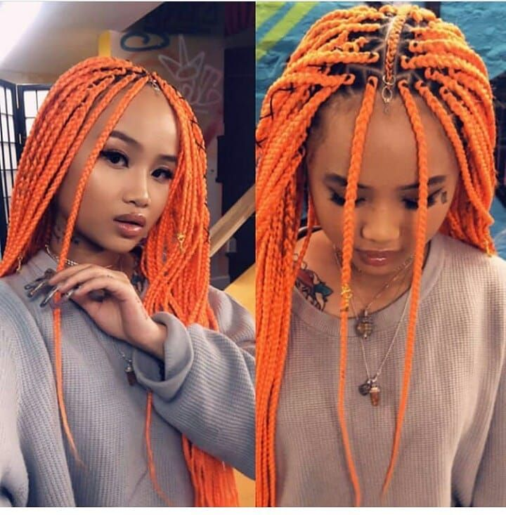 "Ghanaian hairstyles on Instagram: ""Orange boxbraids @cocamichelle ❤ Braids by @xclusive_beauty_lounge #boxbraids . . . #follow @ghanaianhairstyles @cocamichelle #boxbraids…"""