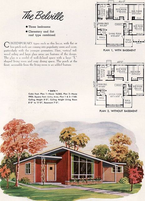 Nps Plan Belville 1952 Mid Century Modern House Plans Vintage House Plans Small House Architecture