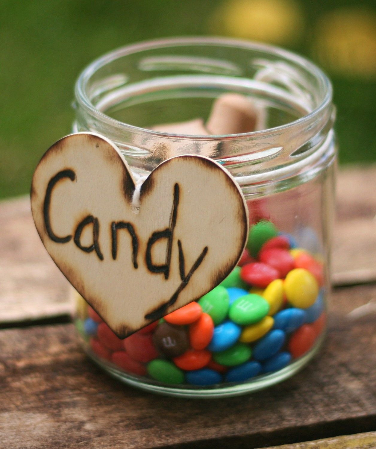 Engraved Rustic Wood Heart Candy Charms With Wood Heart