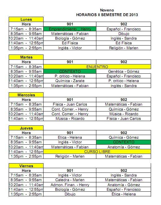Sample School Schedules